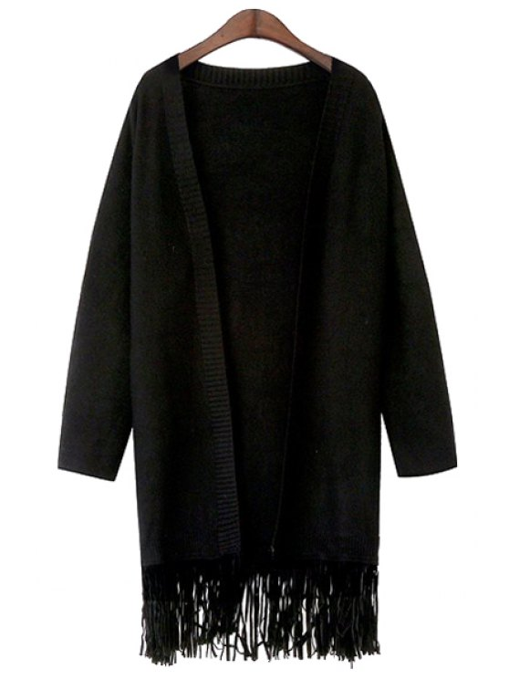 outfit Pure Color Tassels Long Sleeve Cardigan - BLACK ONE SIZE(FIT SIZE XS TO M)