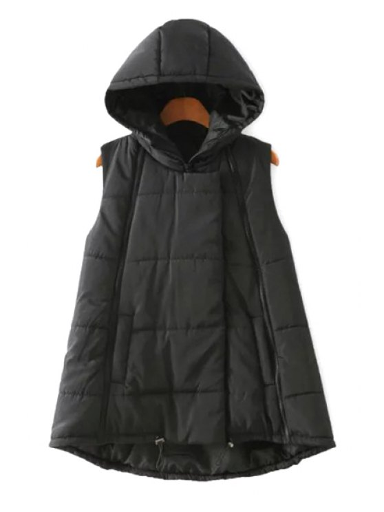 outfits Hooded A-Line Thick Waistcoat - BLACK M