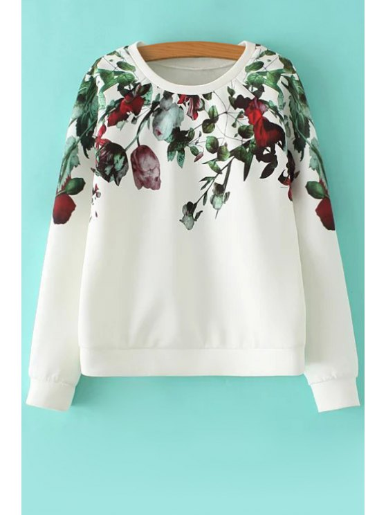 online Floral Jewel Neck Long Sleeve Sweatshirt - WHITE S