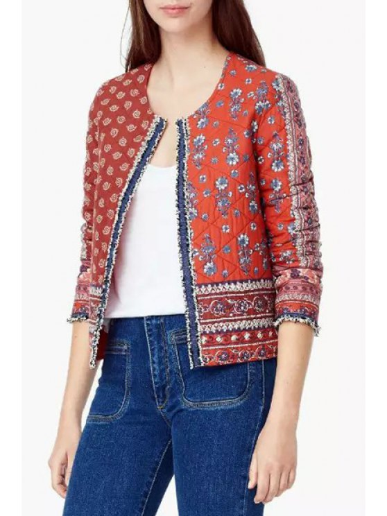 fashion Floral Print Cotton Padded Jacket - RED S
