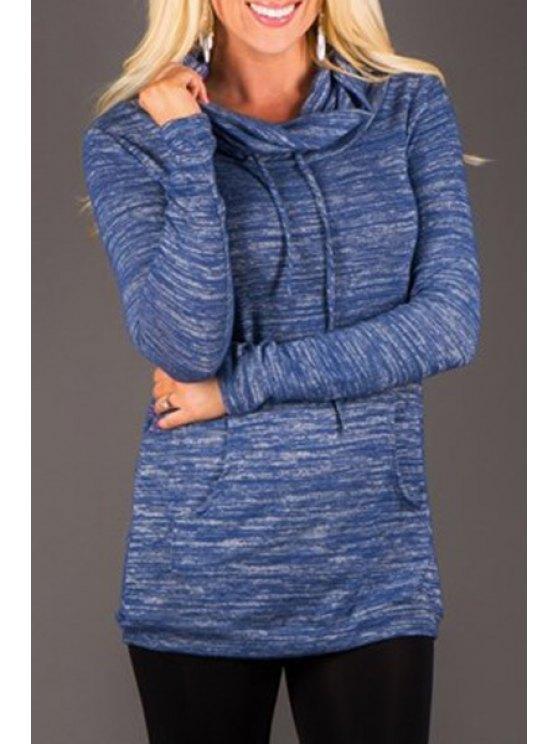outfit Turtle Neck Pure Color Sweatshirt - DEEP BLUE S