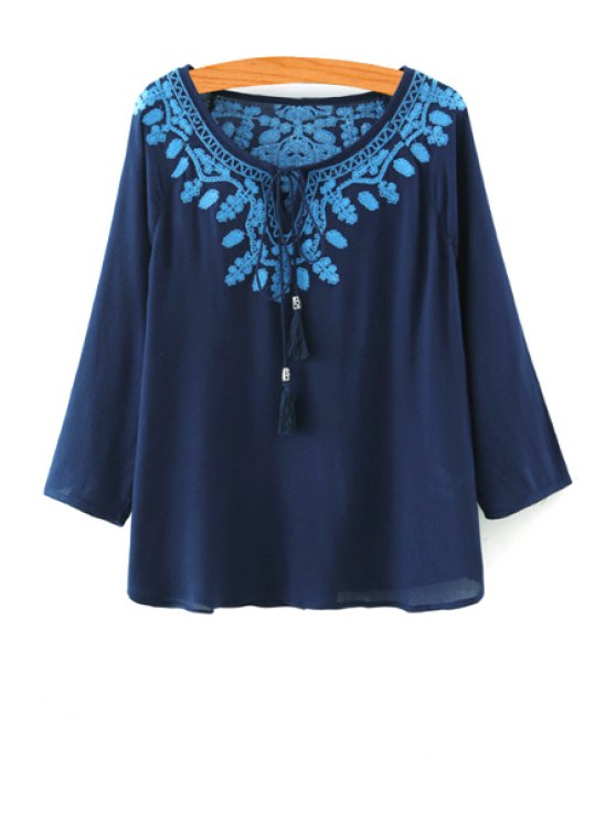 womens 3/4 Sleeve Lace-Up Embroidered Blouse - CADETBLUE S