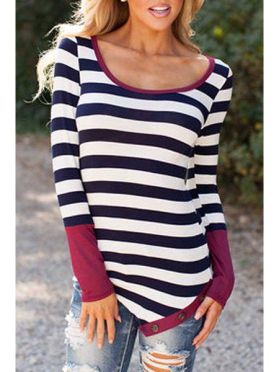 new Stripe Long Sleeve Sleeve Side Slit T-Shirt - PURPLISH RED S