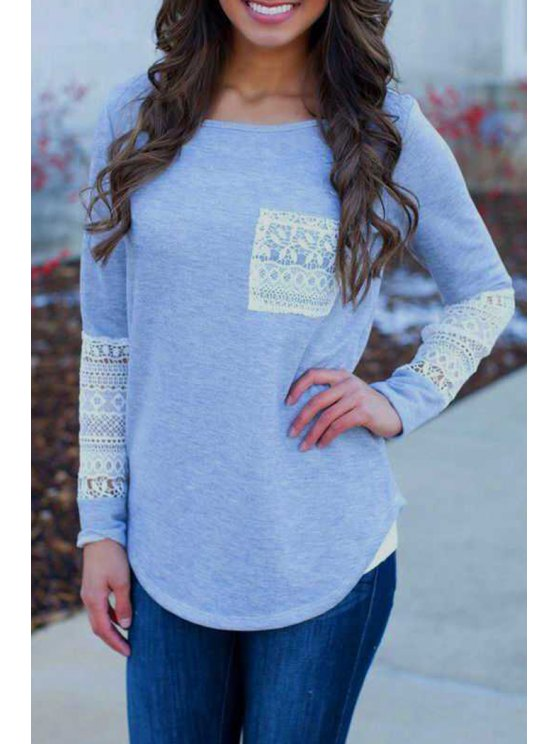 fashion Lace Spliced Scoop Collar Long Sleeves T-Shirt - LIGHT BLUE S