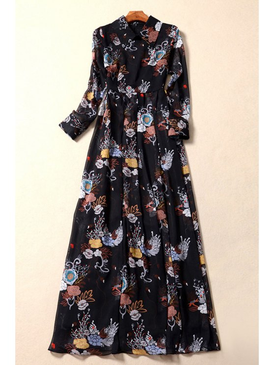 unique Vintage Floral Print Flat Collar Long Sleeves Maxi Dress - BLACK S