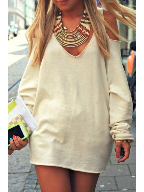 outfit Cut Out V Neck Long Sleeve Dress - OFF-WHITE S
