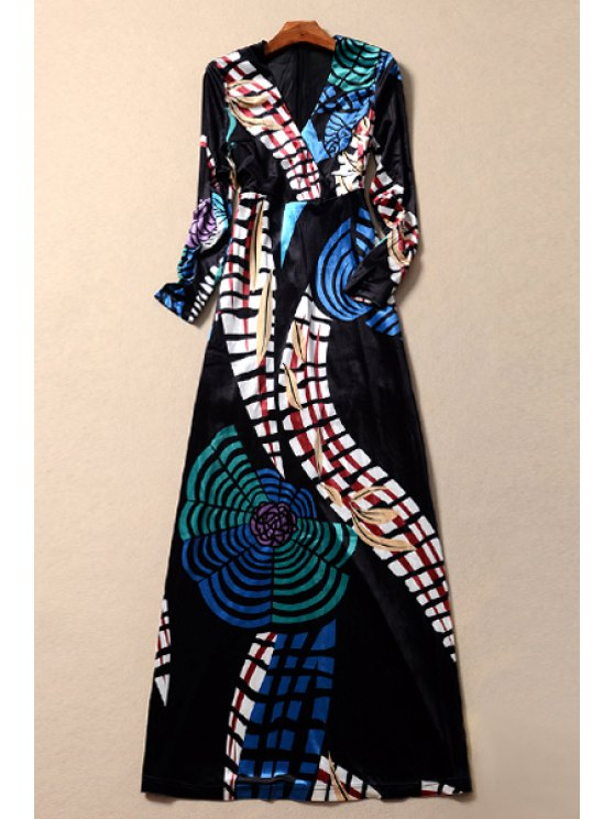 women's Velvet Geometric Print Long Sleeves Plunging Neck Maxi Dress - COLORMIX S