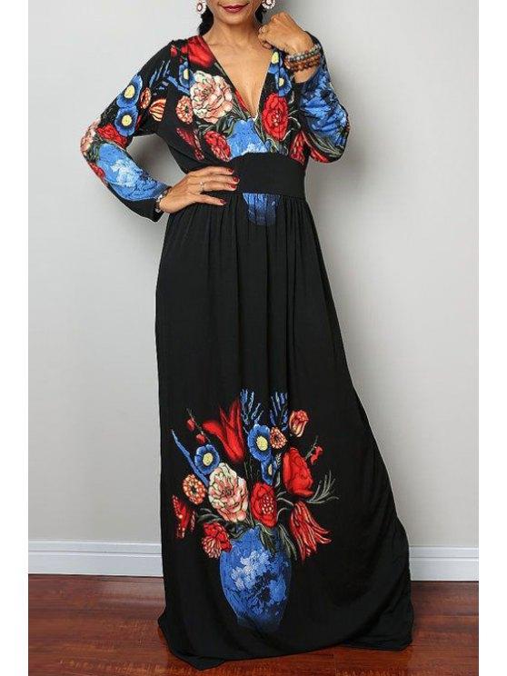 women Plunging Neck Large Flower Prom Dress - BLACK S