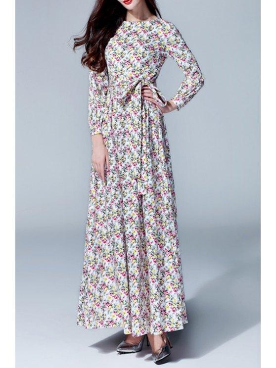 hot Long Sleeve Tiny Floral Maxi Dress - COLORMIX S
