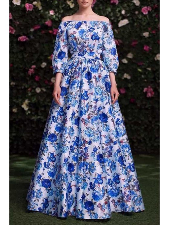 chic Off-The-Shoulder Floral Prom Dress - BLUE S