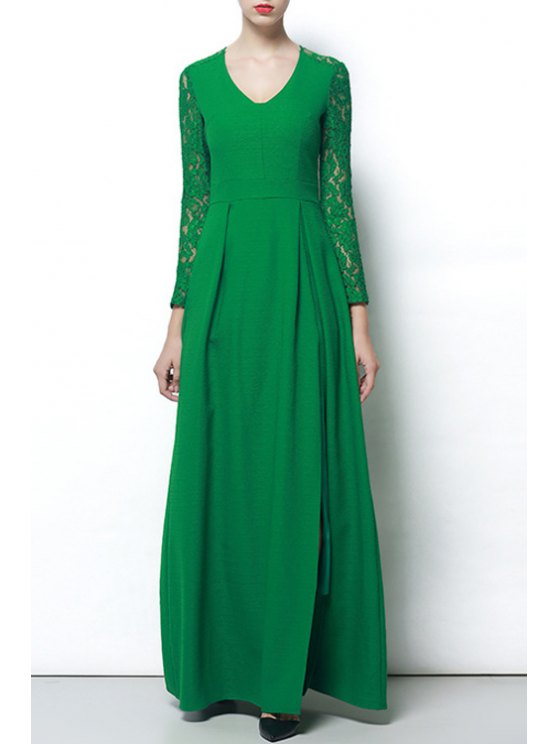 affordable Lace Sleeve High Slit Green Dress - GREEN S