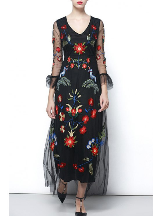 women's Embroidered Voile Prom Dress - BLACK S