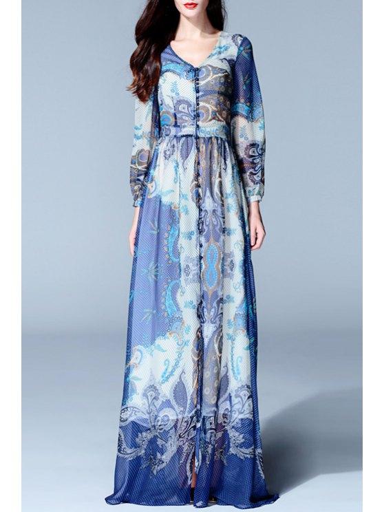 hot Long Sleeve Front Slit Prom Dress - BLUE S