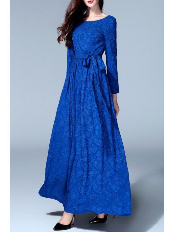 hot Long Sleeve Jacquard Prom Dress - BLUE S