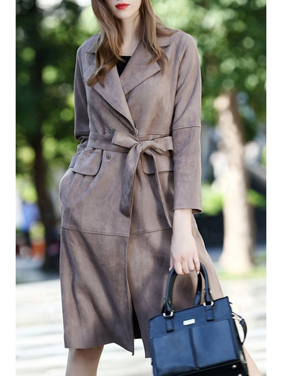 womens Suede Solid Color Lapel Collar Long Sleeves Sashes Coat - COFFEE S