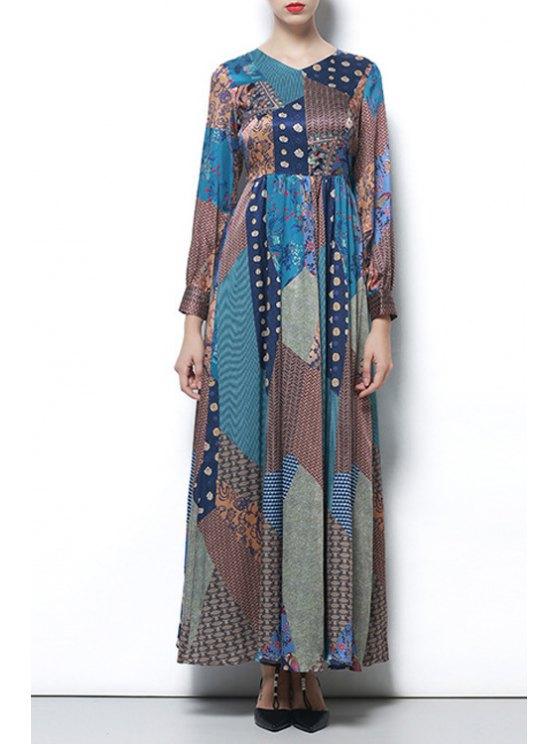 shops Long Sleeve Abstract Print Maxi Dress - COLORMIX S