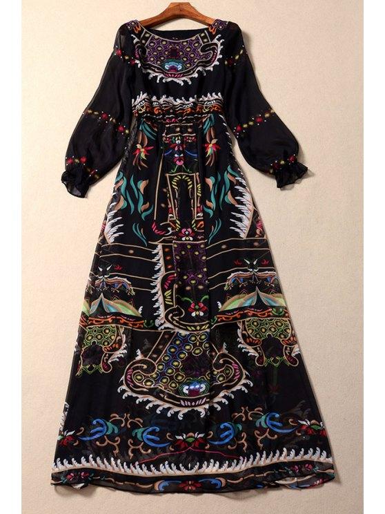 buy Abstract Print Puff Long Sleeves Vintage Dress - BLACK S