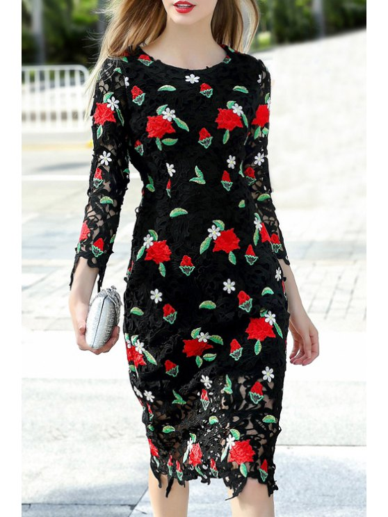 online Embroidery Print Round Collar Hollow Out Dress - BLACK S