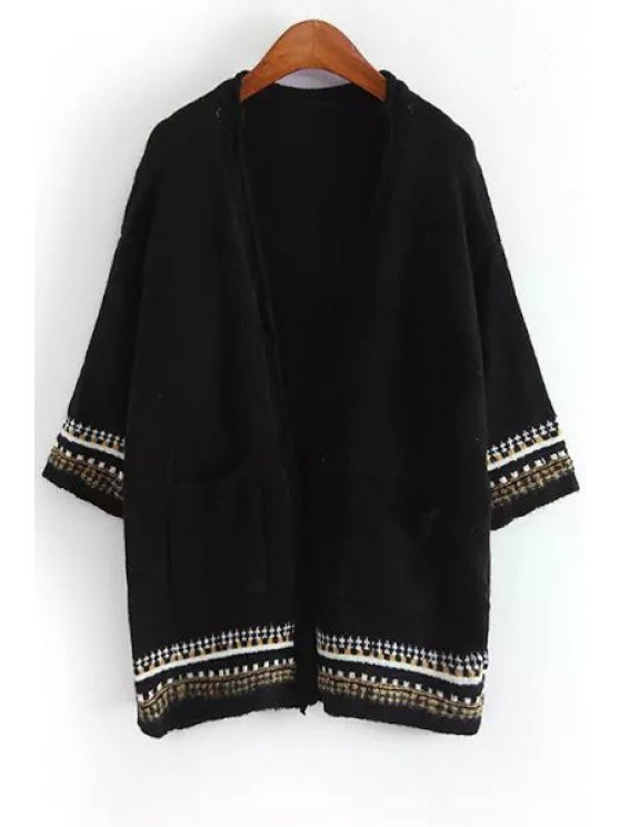 outfits 3/4 Sleeve Two Pockets Cardigan - BLACK ONE SIZE(FIT SIZE XS TO M)