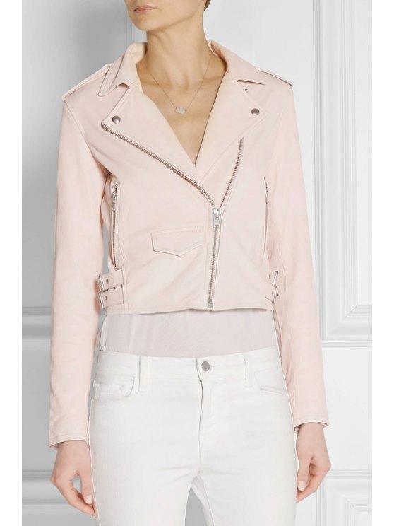 fashion Pink PU Leather Lapel Long Sleeve Jacket - PINK S