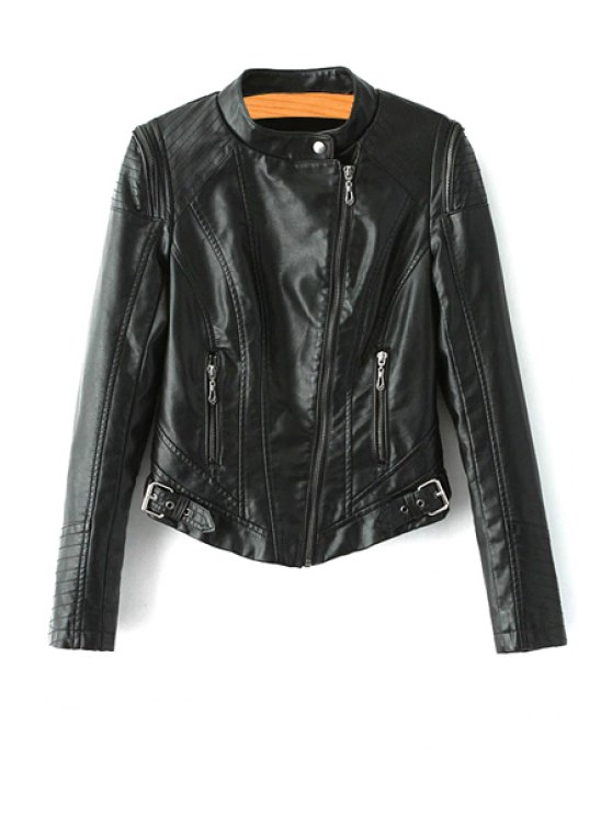 chic Black PU Leather Stand Collar Jacket - BLACK S
