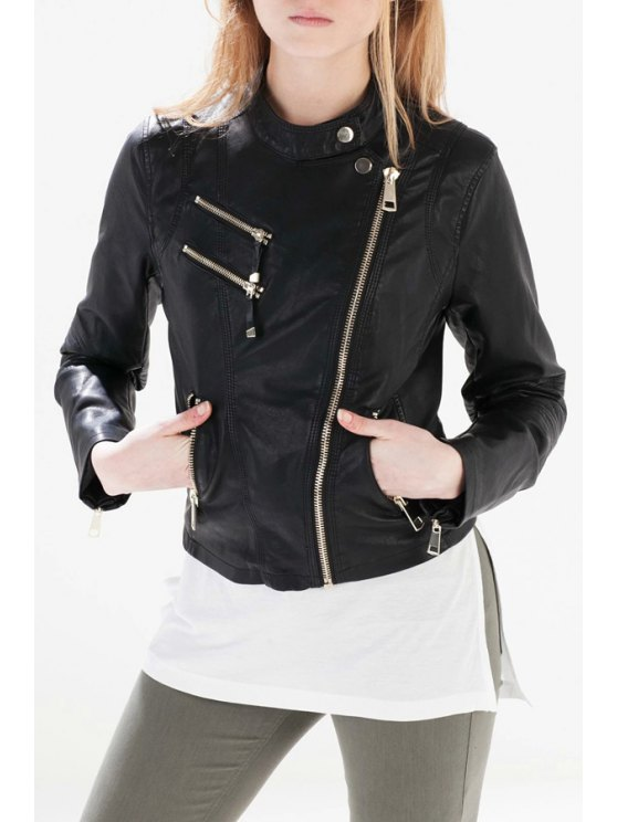 affordable Black Stand Collar Faux Leather Jacket - BLACK S