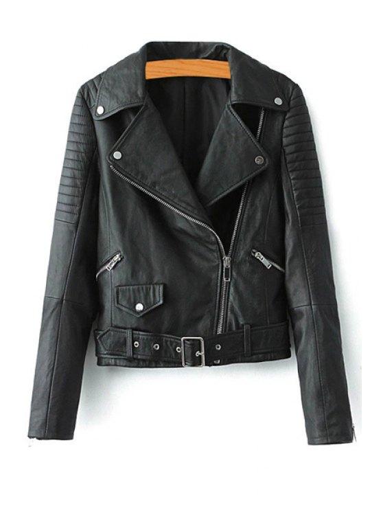 women's Faux Leather Belt Lapel Jacket - BLACK S