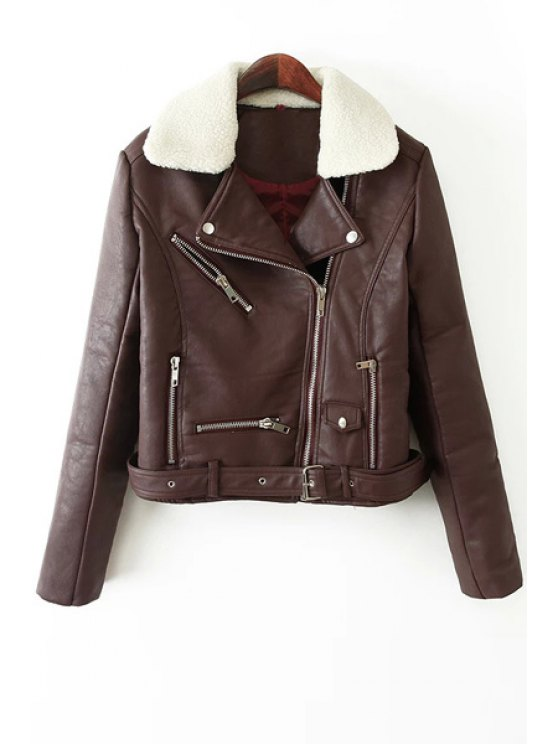 latest Flocking Collar PU Leather Jacket - WINE RED S