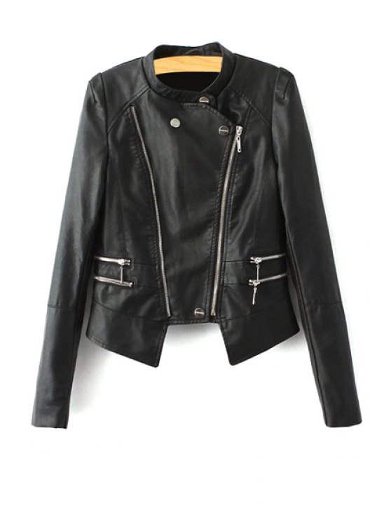 best Stand Neck Faux Leather Zipper Jacket - BLACK S
