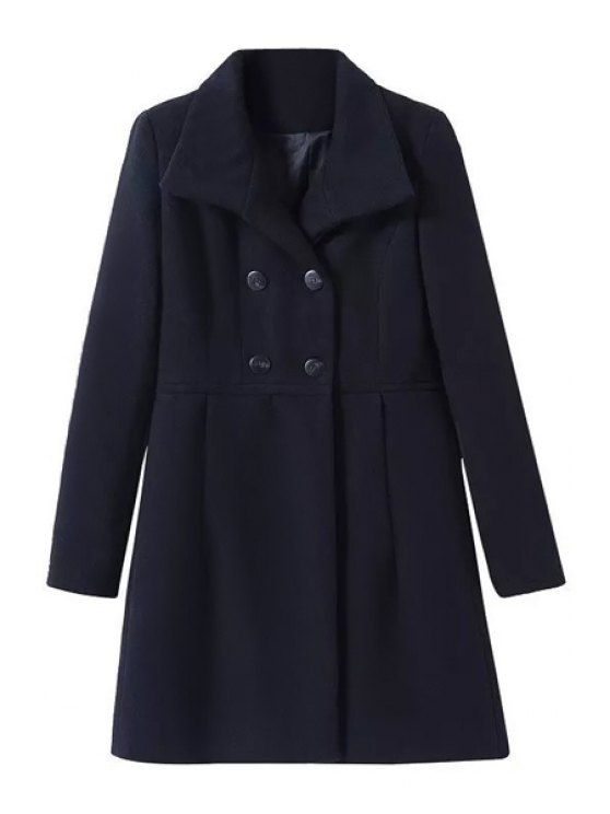 women Worsted Turn Down Collar Double-Breasted Coat - BLACK S