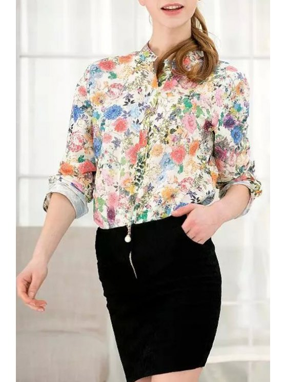sale Long Sleeve Tiny Floral Stand Neck Shirt - COLORMIX S