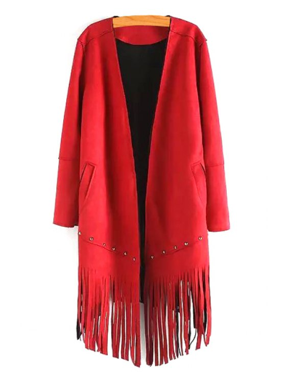 fashion Long Sleeve Tassels Solid Color Coat - RED S