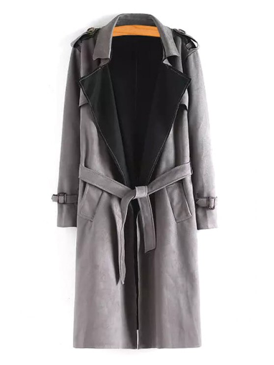 lady Faux Leather Turn Down Collar Trench Coat - GRAY S