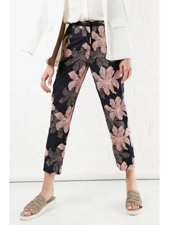 buy Retro Floral Print Loose Fitting Nine Minutes Of Pants - COLORMIX S