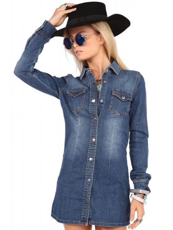 women's Pocket Denim Flat Collar Long Sleeves Shirt Dress - BLUE XS