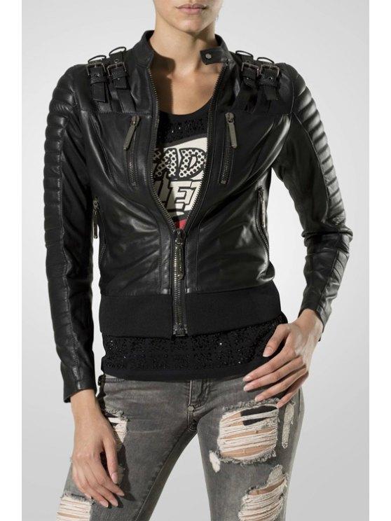 fancy Zip Pockets PU Leather Jacket - BLACK S