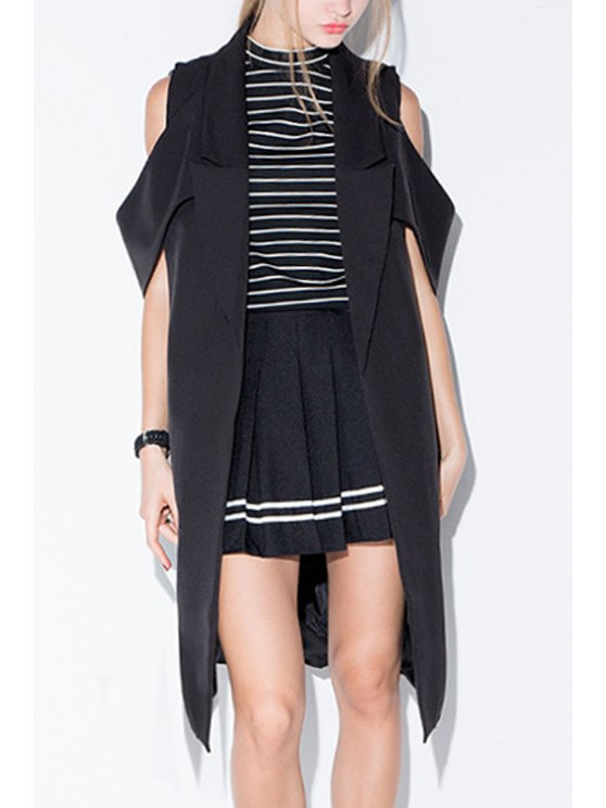 affordable Solid Color Lapel Collar Short Sleeves Trench Coat - BLACK XS