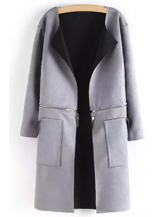 fancy Open Front Zippered Convertible Suede Coat - GRAY S
