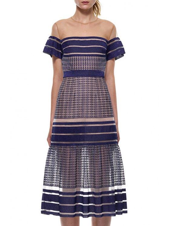 fancy Mesh Spliced Round Neck Short Sleeve Dress - DEEP BLUE S