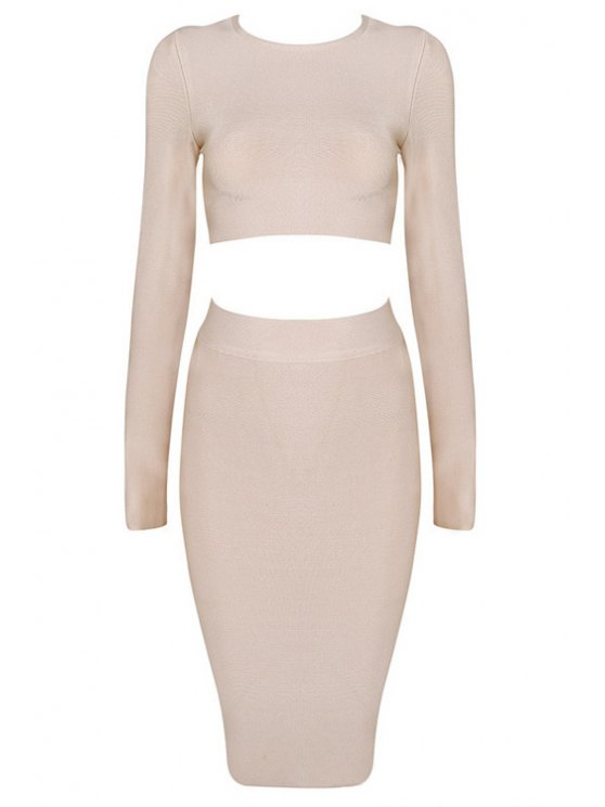 ladies Long Sleeve Crop Top and Bodycon Skirt Suit - NUDE S