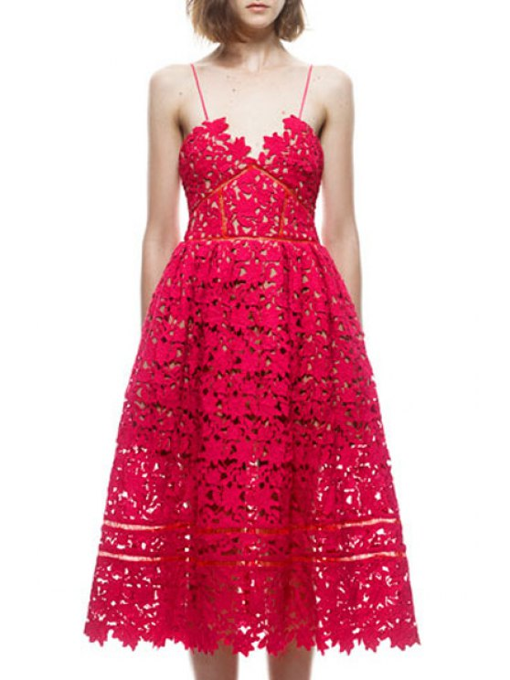 best Lace Cami Solid Color A Line Dress - RED S