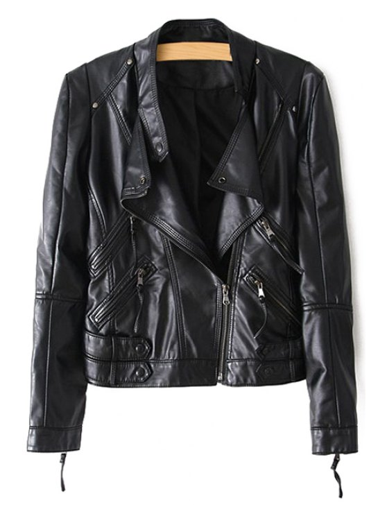 latest Stand Neck Zippered PU Leather Jacket - BLACK S