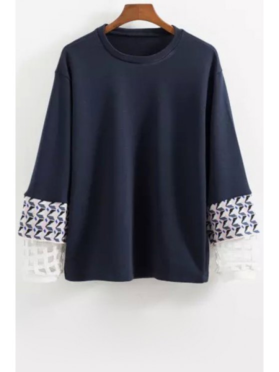 shop Long Sleeve Splicing Sweatshirt - BLUE XS