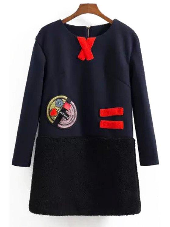 online Long Sleeve Flocking Appliqued Dress - BLUE XS