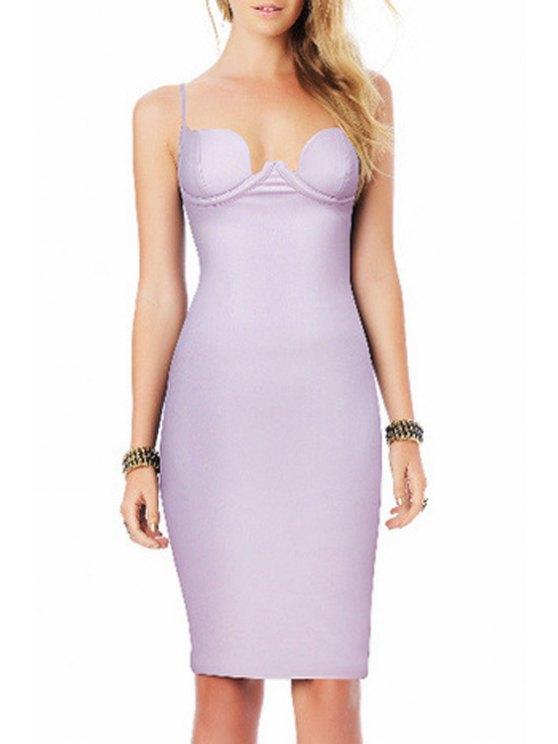 women's Pure Color Cami Bodycon Dress - LIGHT PURPLE XS