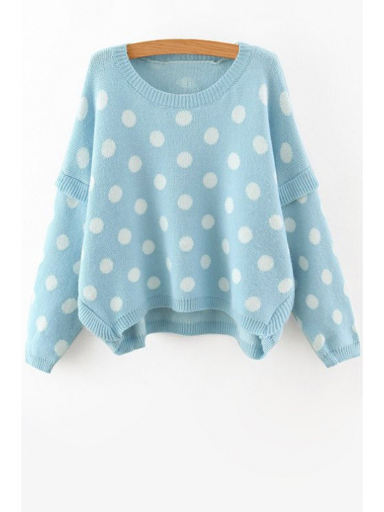 affordable Batwing Sleeve Polka Dot Jumper - BLUE ONE SIZE(FIT SIZE XS TO M)