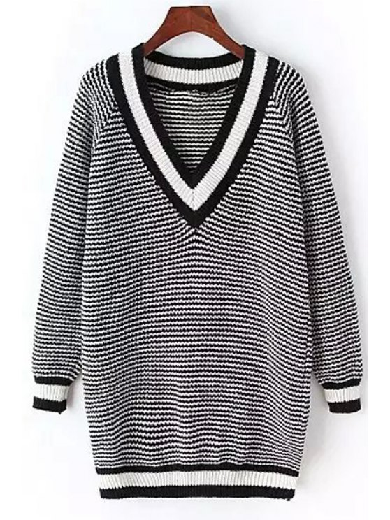 online V Neck Striped Long Sweater - GRAY ONE SIZE(FIT SIZE XS TO M)