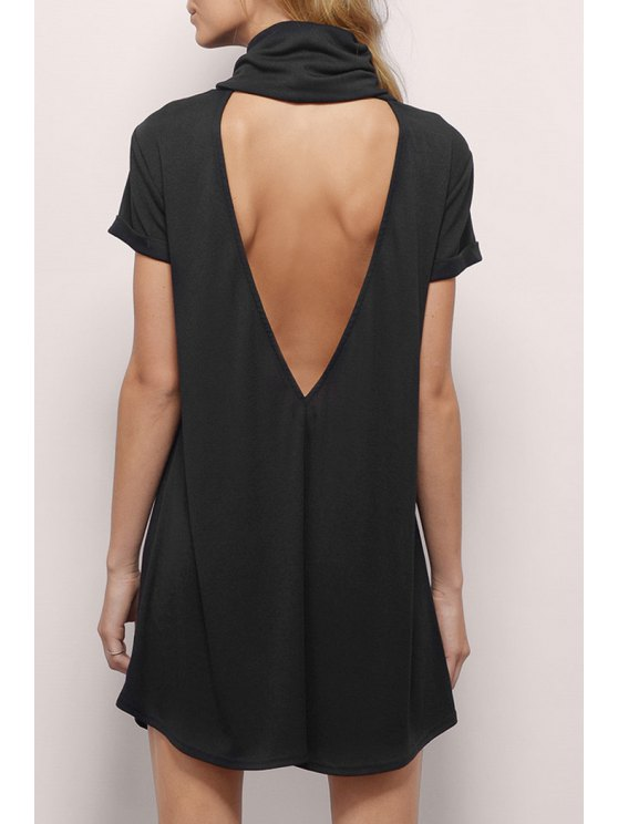online Backless Heaps Collar Short Sleeves Solid Color Dress - BLACK XS
