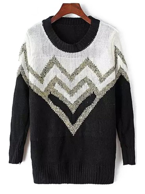 new Color Block Jacquard Sweater - WHITE AND BLACK ONE SIZE(FIT SIZE XS TO M)
