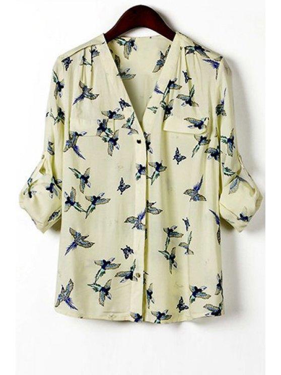 fashion Full Bird Print V Neck Long Sleeve Shirt - LIGHT YELLOW S